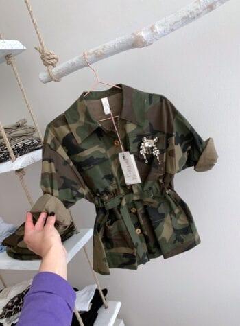 Shop Online Camicia bimba camouflage con spilla Souvenir Kids