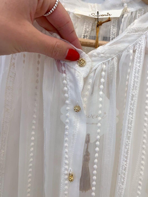Shop Online Camicia panna semitrasparente in seta Souvenir