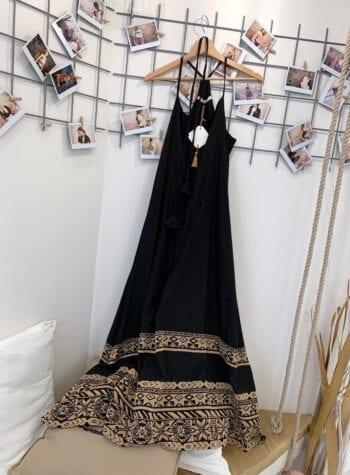 Shop Online Vestito lungo nero fantasia fondo Souvenir