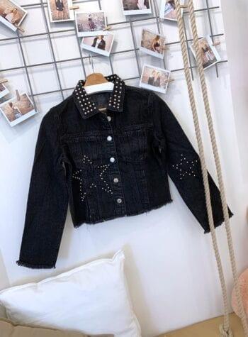 Shop Online Giacchetto jeans nero borchie Gio Cellini