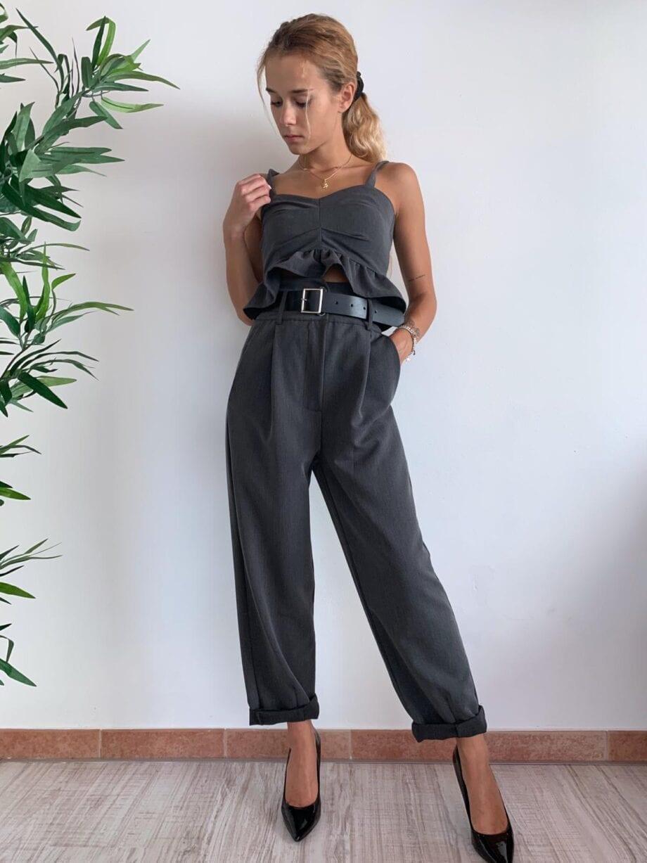 Shop Online Top grigio con gala HaveOne