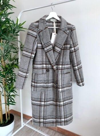 Shop Online Cappotto lungo grigio a quadri HaveOne