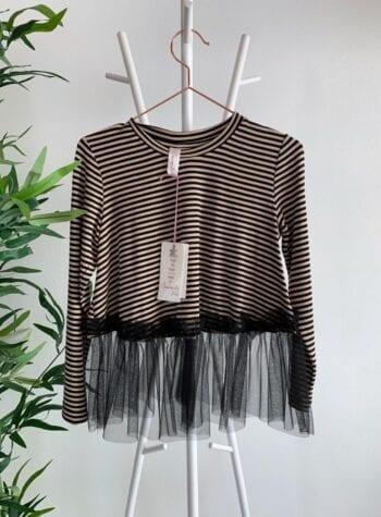 Shop Online Maglietta a righe con tulle Souvenir Kids