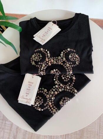 Shop Online T-shirt nera con borchie topolino Souvenir Kids