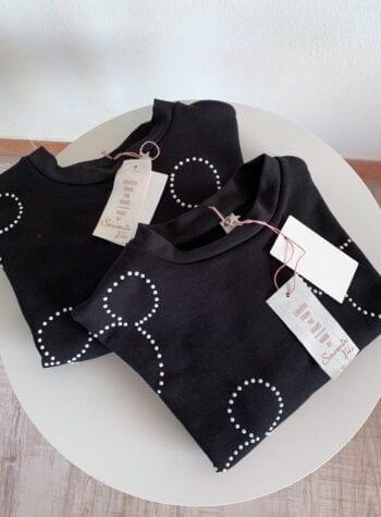 Shop Online Felpa nera topolino con borchie Souvenir Kids