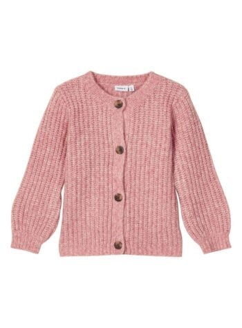 Shop Online Cardigan corto rosa in maglia inglese name it