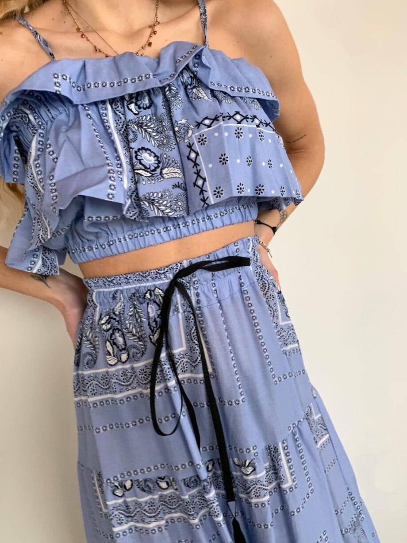 Shop Online Top azzurro bandana Souvenir
