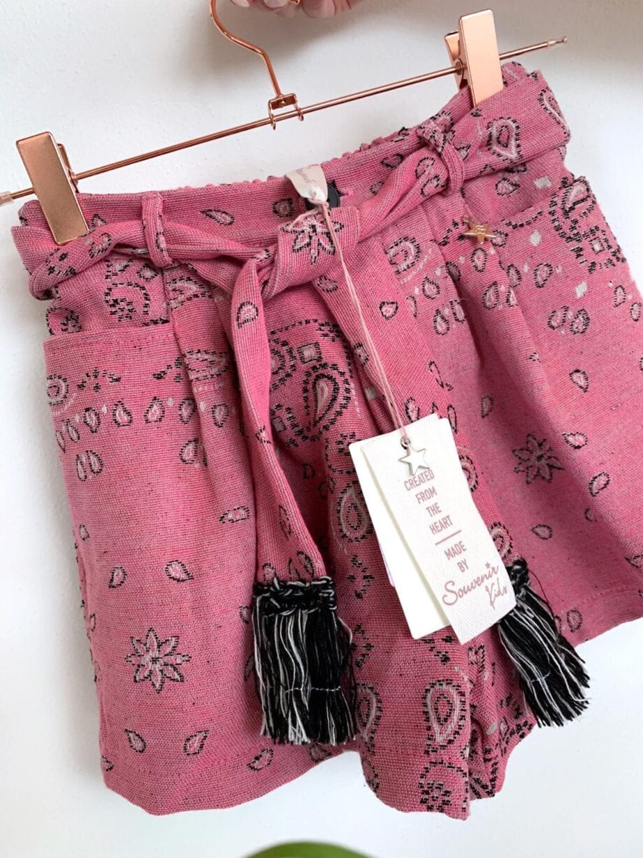 Shop Online Short fucsia stampa bandana Souvenir Kids