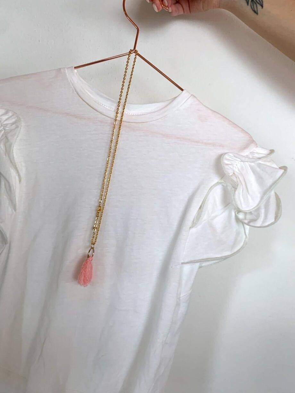 Shop Online T-shirt bianca maniche rouches Souvenir Kids