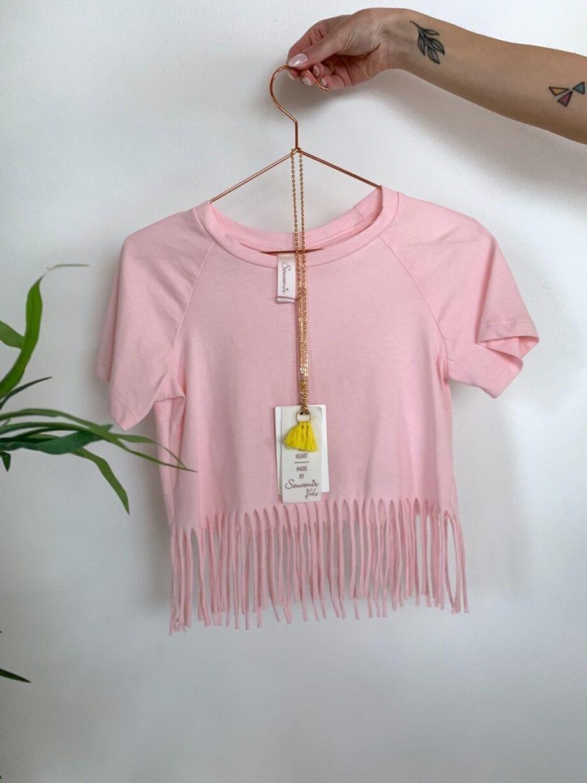 Shop Online T-shirt rosa con frange Souvenir Kids