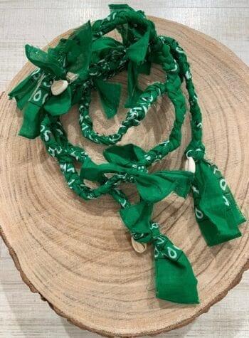 Shop Online Collana bandana intrecciata con conchiglie bianca
