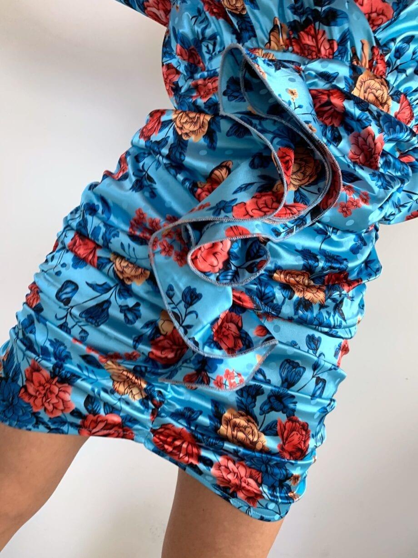 "Shop Online Vestito ""Blanca"" blu in raso stampa fiori Odì Odì"