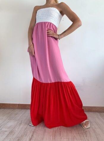 Shop Online Vestito lungo balze tricolore So Allure