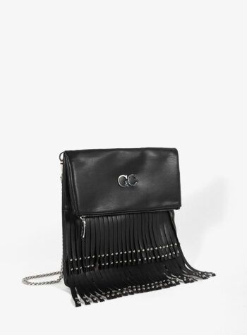 Shop Online Pochette morbida nera con frange Gio Cellini