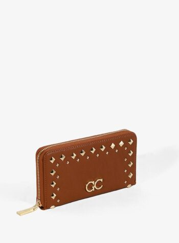 Shop Online Portafoglio nero con borchie rombi Gio Cellini