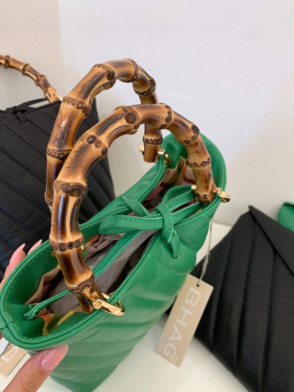 Shop Online Secchiello matelassé verde manici in legno Bhag