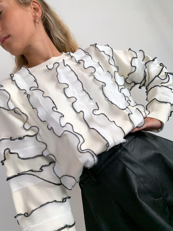 Shop Online Maglione PRUDENCIA bianco con rouches Odì Odì