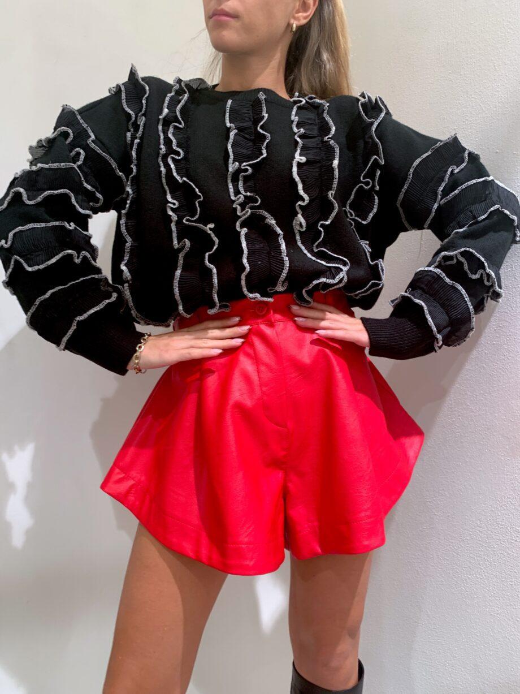 Shop Online Maglione PRUDENCIA nero con rouches Odì Odì