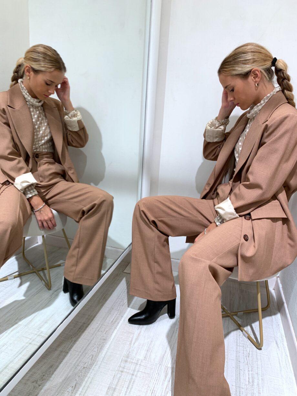 Shop Online Pantalone palazzo melangiato nocciola So Allure