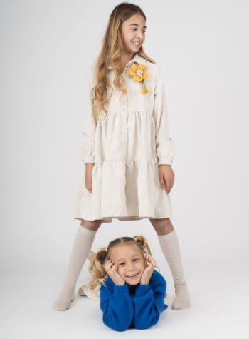 Shop Online Pantaloncino in velluto panna con spilla Souvenir Kids