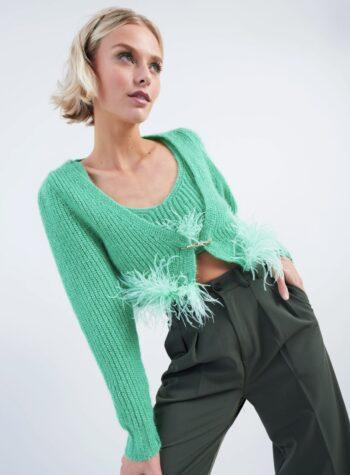 Shop Online Cardigan crop verde smeraldo con piume Vicolo