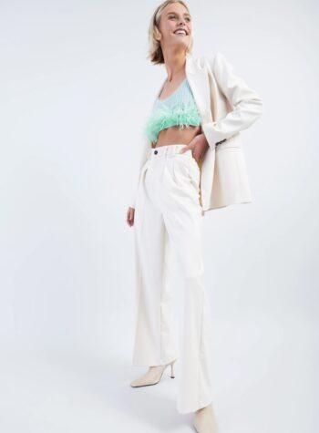 Shop Online Pantalone a palazzo panna con pieghe Vicolo
