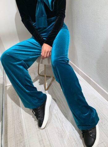 Shop Online Pantalone tuta palazzo in velluto petrolio Matinée