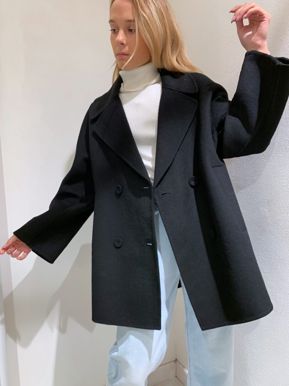 Shop Online Cappotto over doppiopetto nero Vicolo