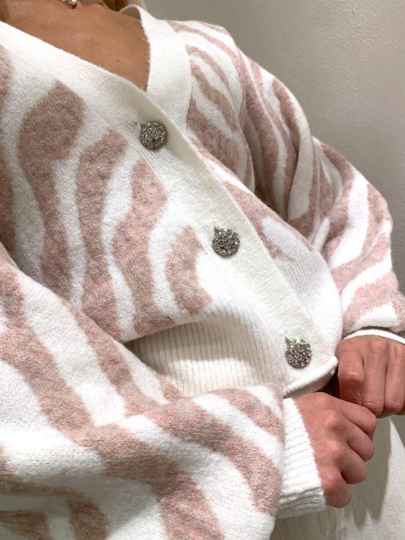 Shop Online Cardigan panna con stampa zebrata rosa So Allure