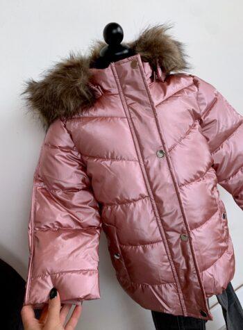 Shop Online Piumino rosa glitterato con pelliccia Nameit