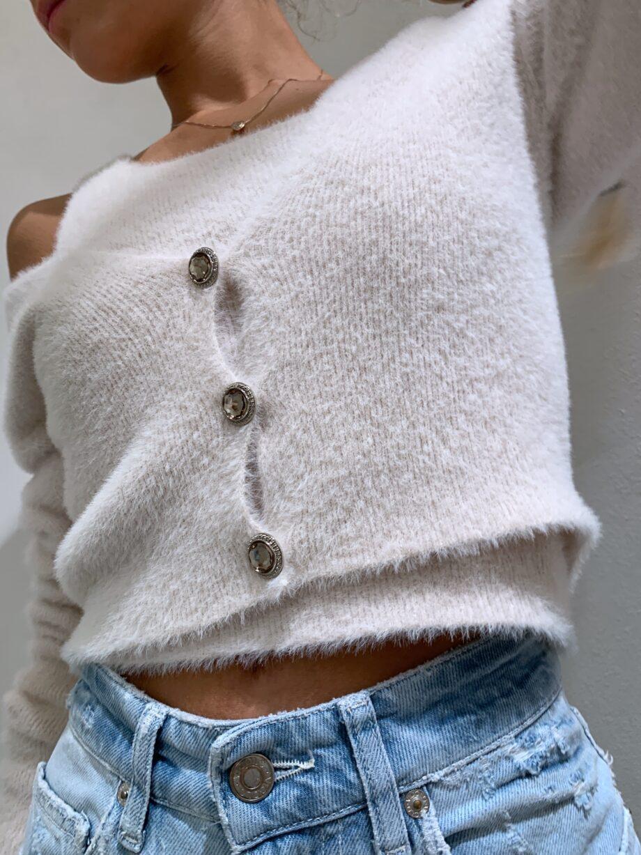 Shop Online Giacchina in peloncino panna con bottoni gioiello Kontatto