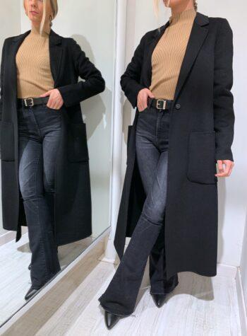 Shop Online Cappotto lungo nero con bottone Vicolo