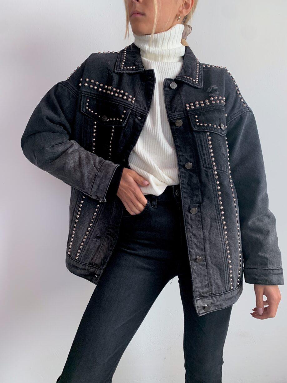 Shop Online Giaccone di jeans nero con borchie Gio Cellini