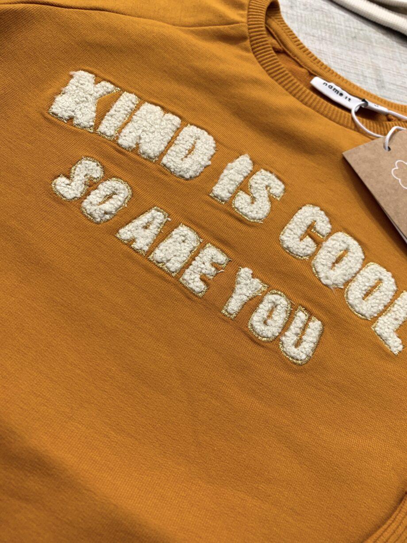 Shop Online Felpa girocollo senape con scritta Name it