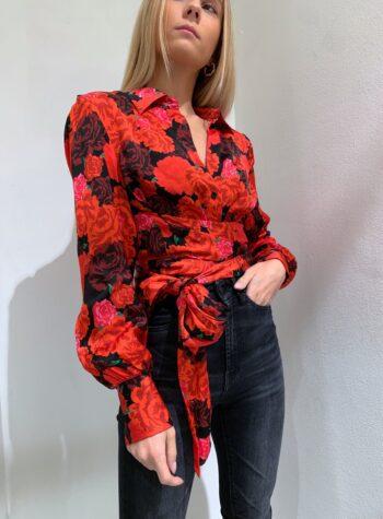 Shop Online Blusa in satin stampa rose con nastro HaveOne