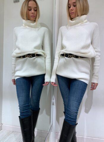 Shop Online Maxi maglia panna collo alto Kontatto