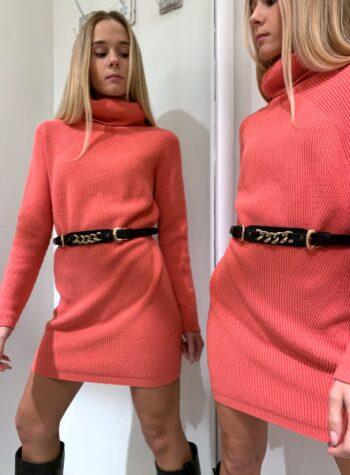 Shop Online Maxi maglia rosa corallo collo alto Kontatto
