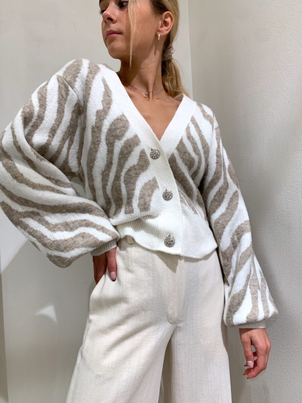 Shop Online Cardigan panna con stampa zebrata tortora So Allure