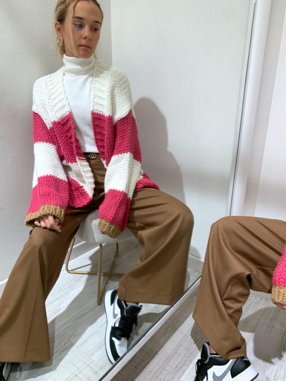 Shop Online Cardigan in maglia grossa a righe fucsia Vicolo