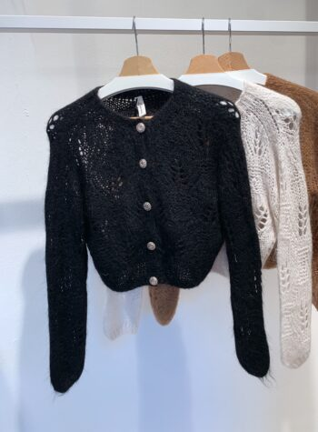 Shop Online Giacchina traforata marrone con bottini gioiello Souvenir