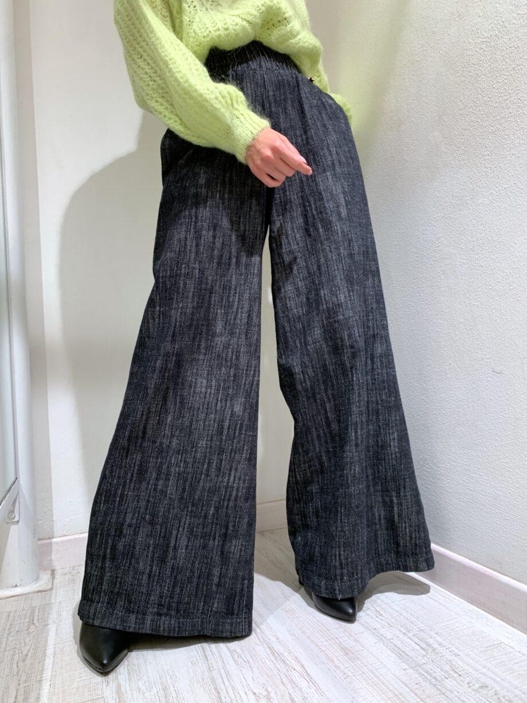 Shop Online Pantalone palazzo grigio e nero mélange Souvenir