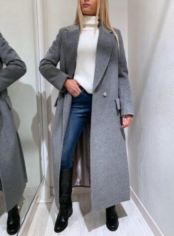 Shop Online Cappotto lungo grigio doppiopetto So Allure