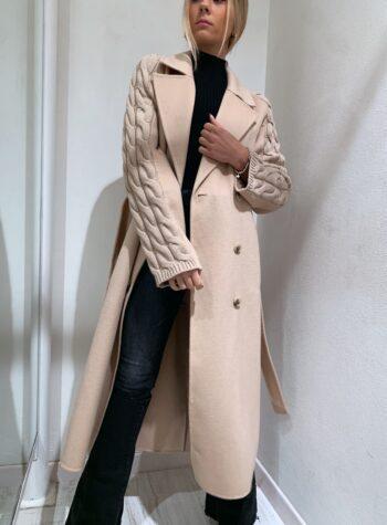 Shop Online Cappotto beige con maniche trecce Vicolo