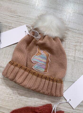 Shop Online Cappello in maglia rosa con pompon Name it