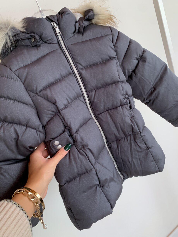 Shop Online Piumino grigio con glitter e pelliccia Name it
