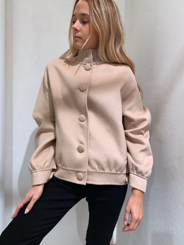 Shop Online Bomber coat beige con bottoni Vicolo