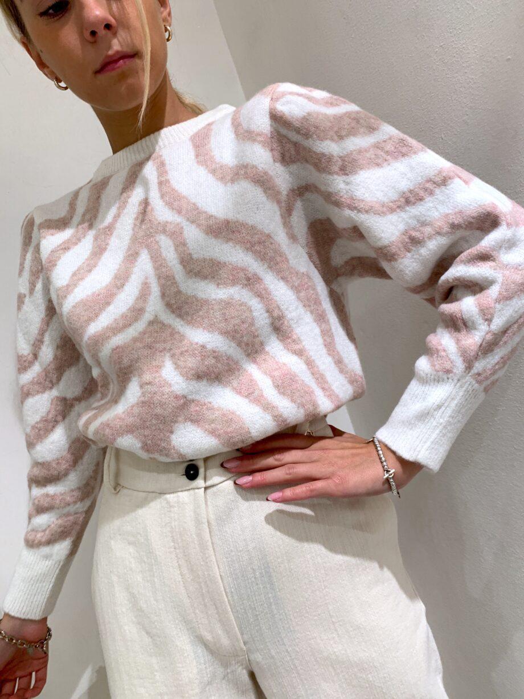 Shop Online Maglione panna con stampa zebrata rosa So Allure
