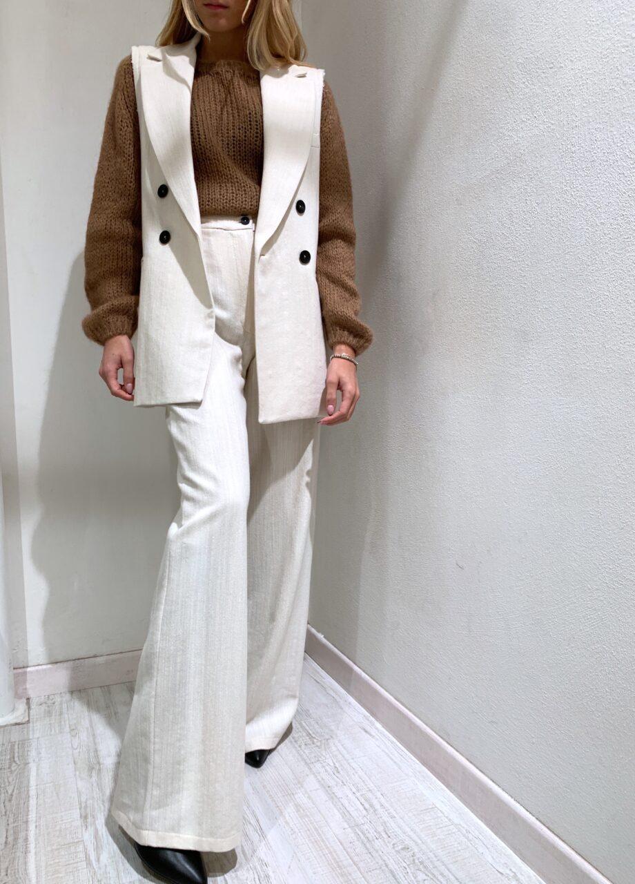 Shop Online Pantalone palazzo in lino e lana burro Souvenir