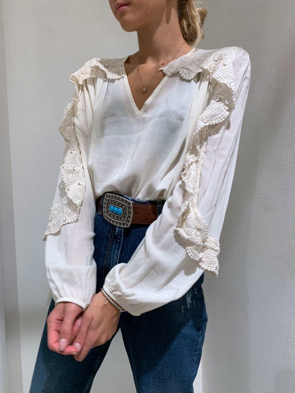 Shop Online Camicia panna con rouches in pizzo HaveOne