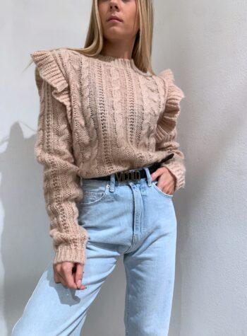 Shop Online Maglione beige con noccioline e rouches Kontatto
